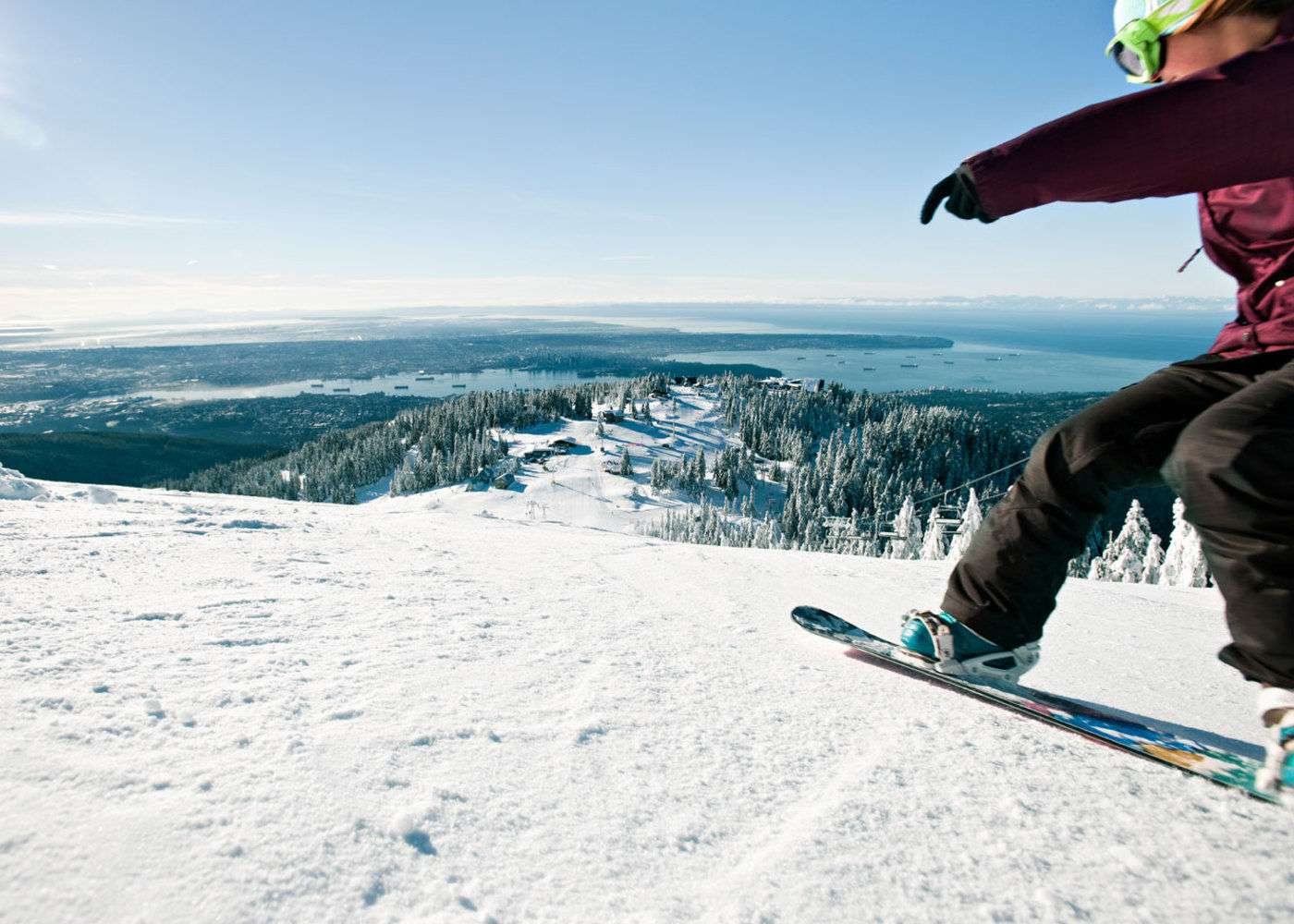 Snowboarding on Grouse Mountain, Vancouver, BC