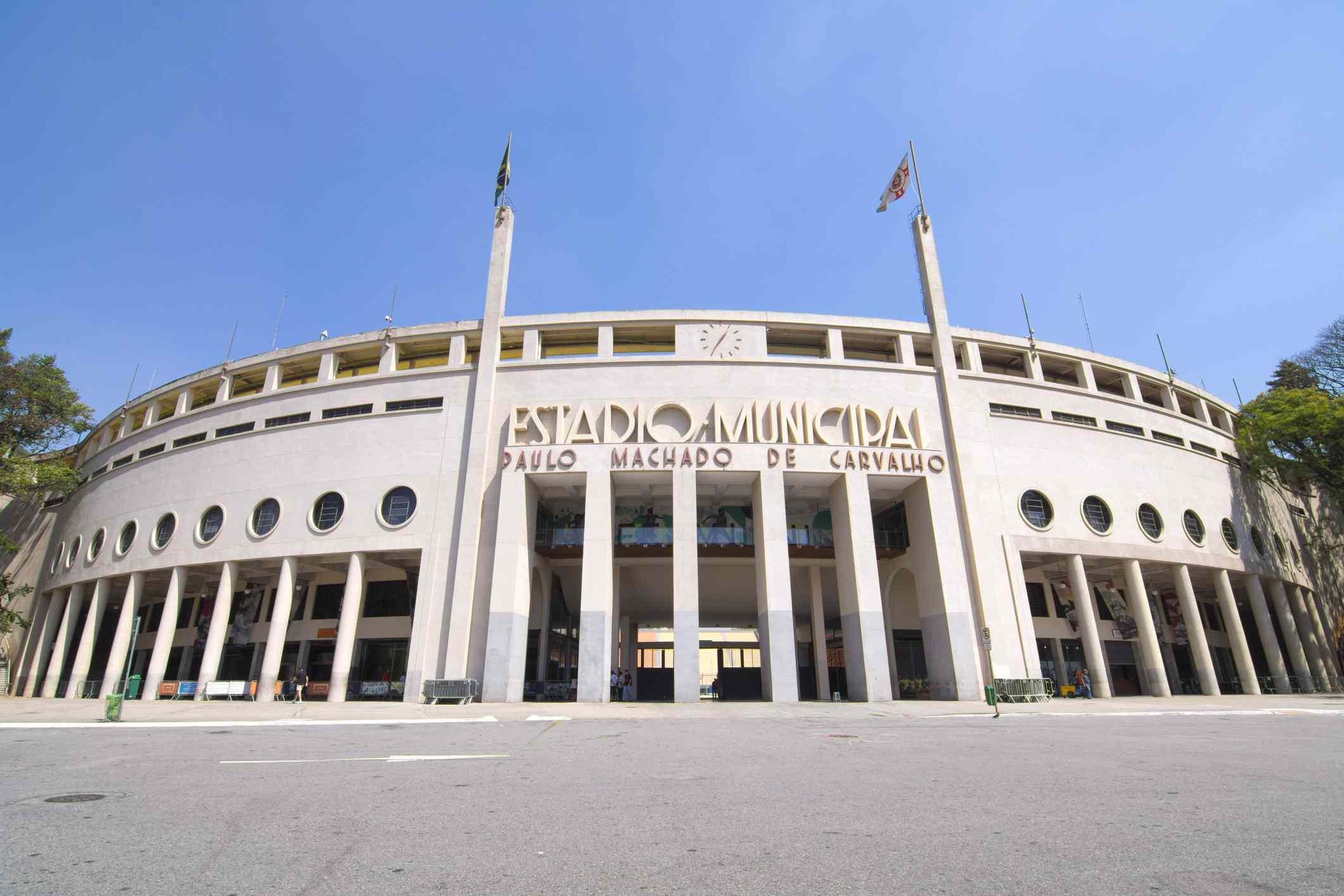 Sao Paulo, Brazil - September 23, 2015: Pacaembu Stadium (Estadio Municipal Paulo Machado de Carvalho) hosts professional soccer games and also is home to the Museum of Football (soccer) in Sao Paulo, Brazil
