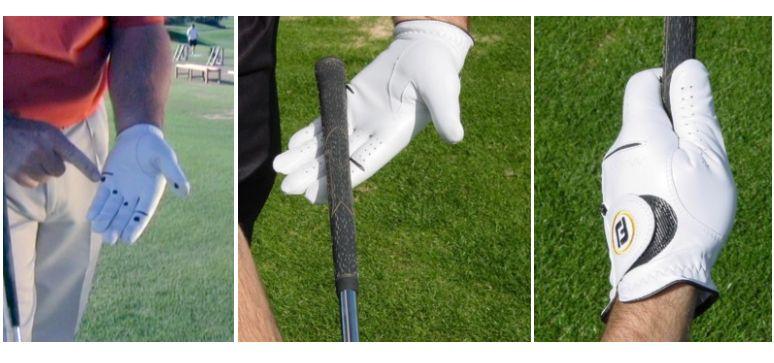 Panel of photos showing proper grip technique