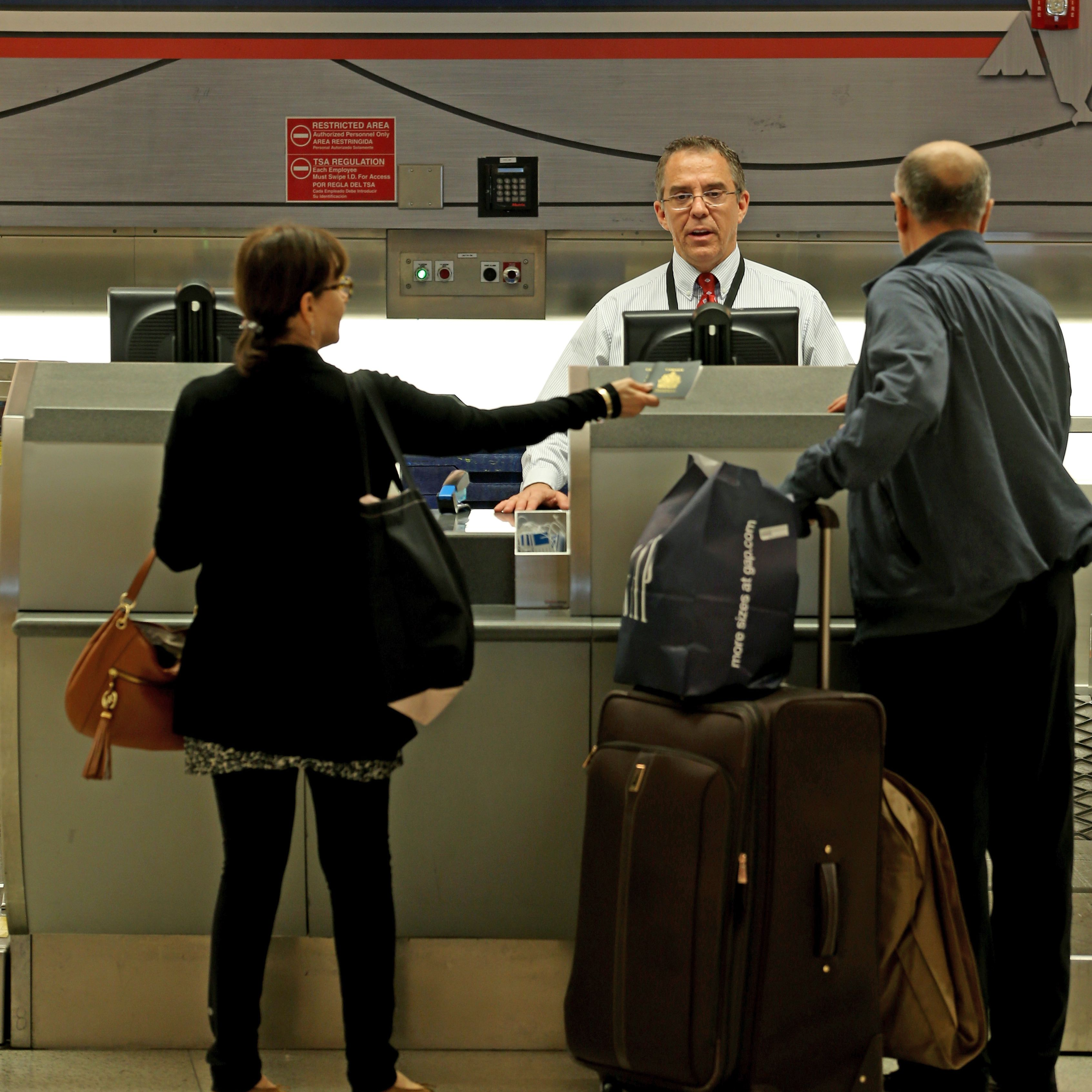 After a missed flight, report to the airline counter as quickly as possible.