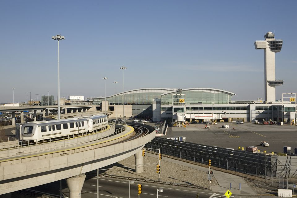 International terminal, train, and control tower at New York's Kennedy Airport