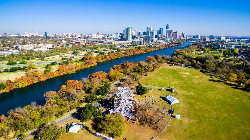 Changing Colors Along Colorado River Aerial Shot Zilker Park