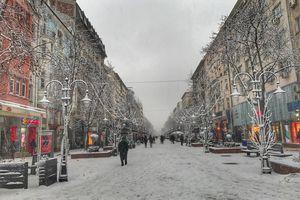 People On Snow Covered Vitosha Boulevard