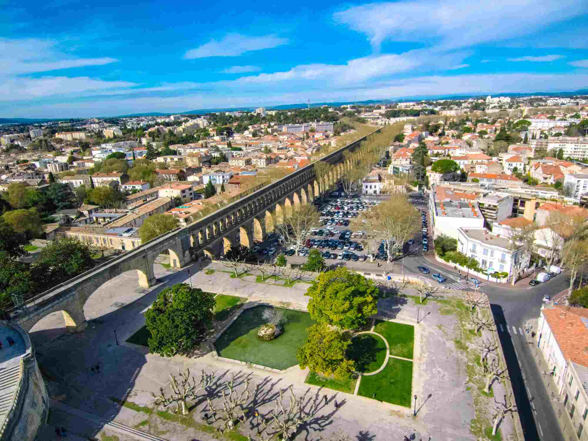 Aqueduct of Montpellier from a drone (France)