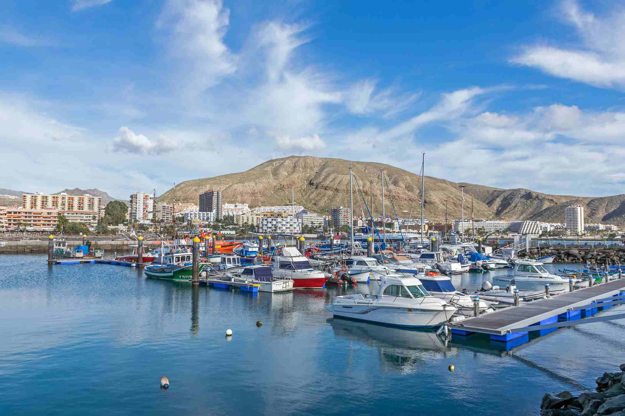 Boats in the harbour at Los Cristianos in Tenerife