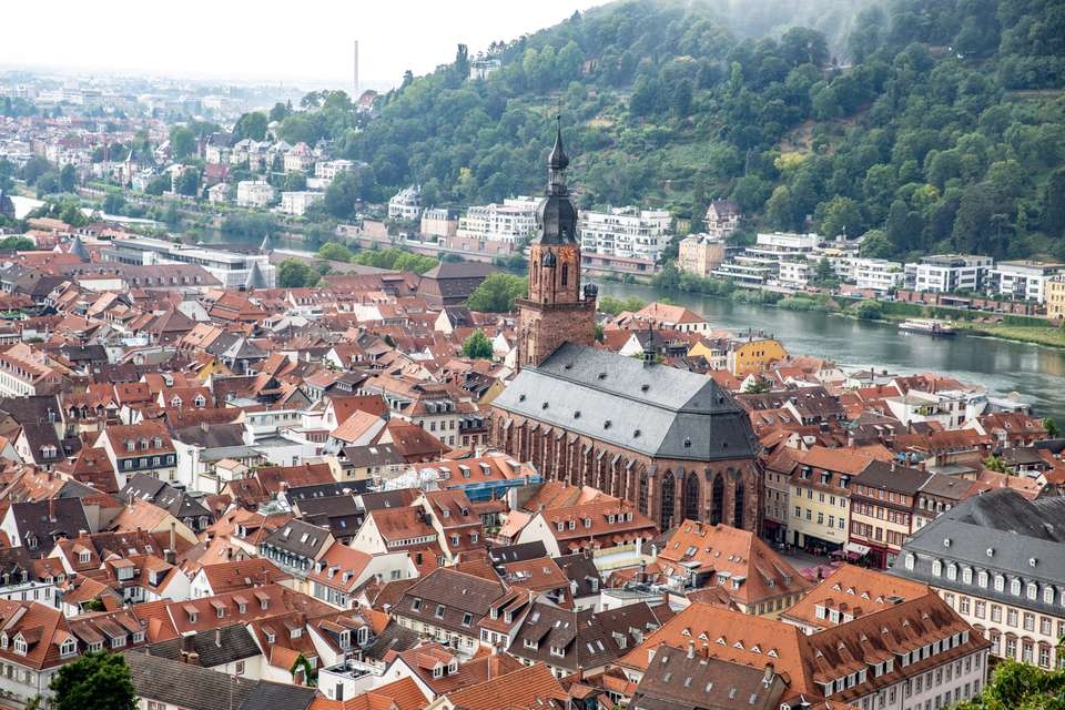 Shot from above of Heidelberg's Old Town
