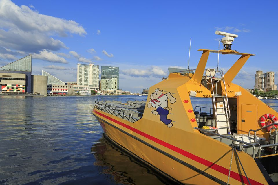 Tour boat in the Inner Harbor, Baltimore, Maryland