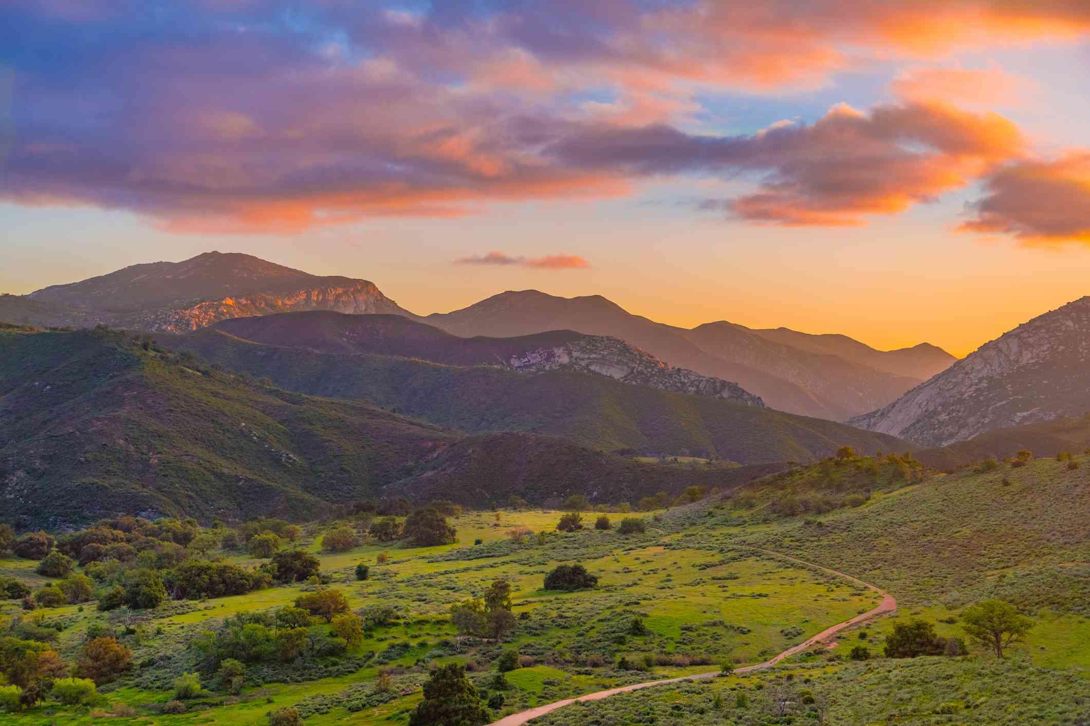Palomar Mountain Valley glows in sunset