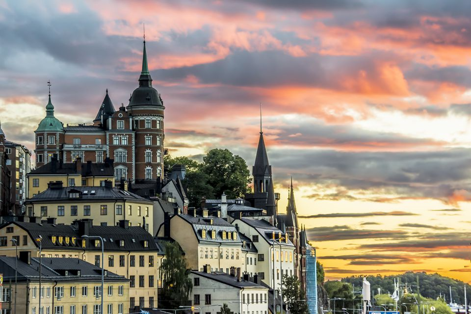 View of Stockholm cityscape during sunset, Sweden.