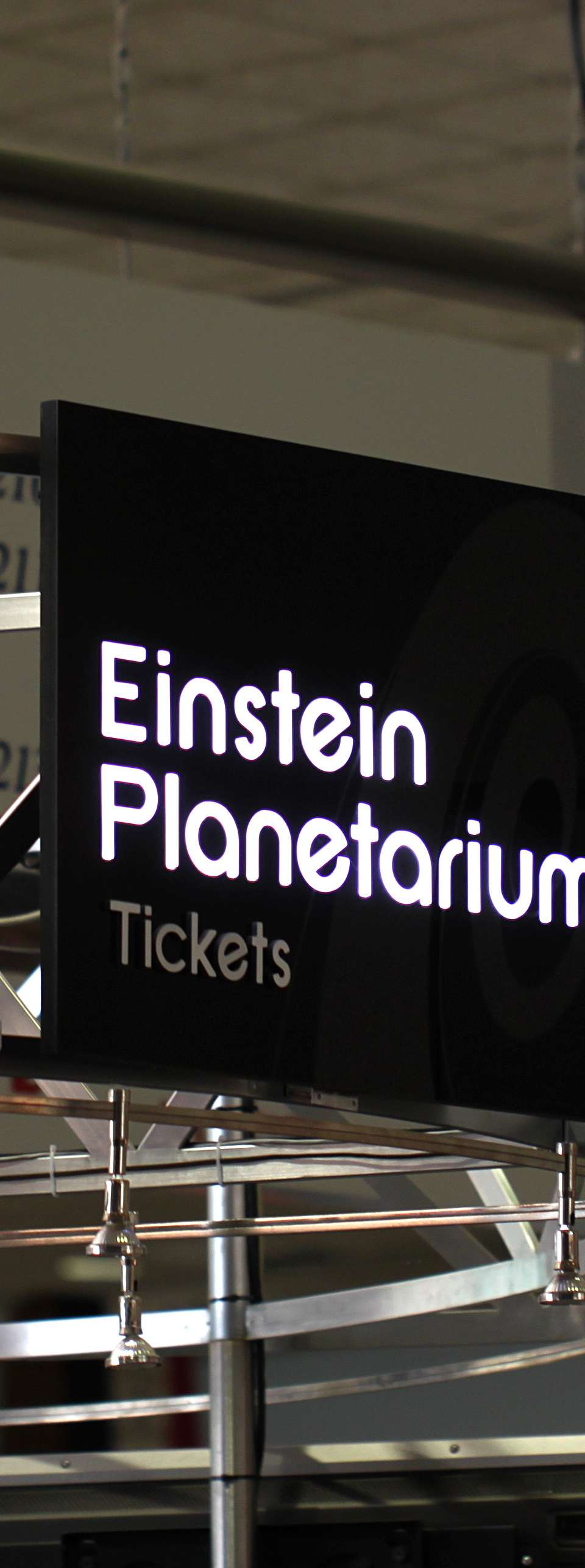 Sign for the planetarium tickets