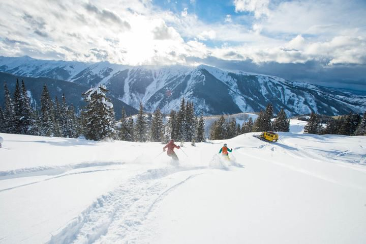 Skiers on the mountain in Aspen