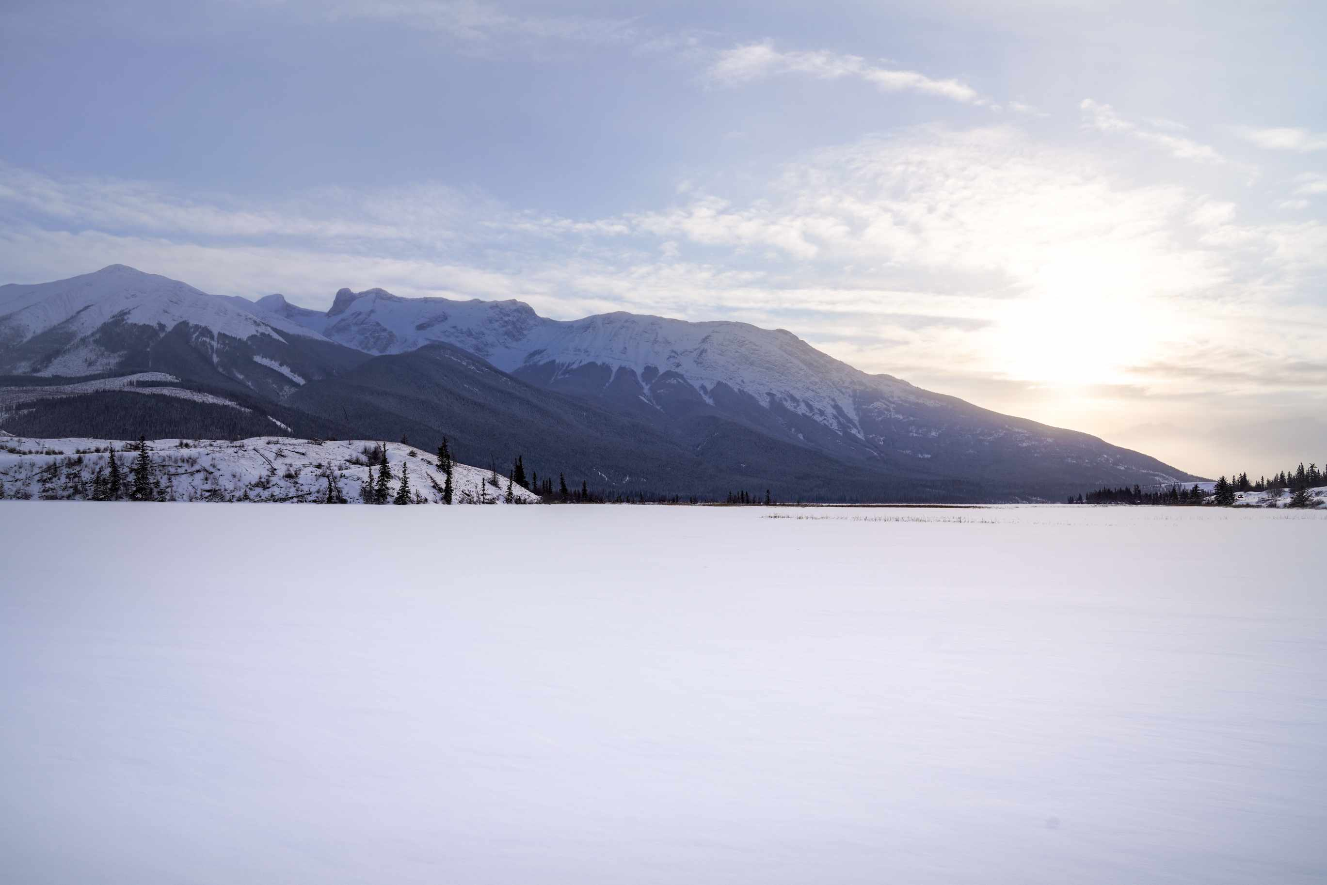 A lake with snowy mountains in Jasper