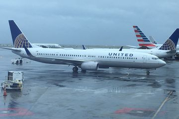 United Airlines plane waiting on the tarmac