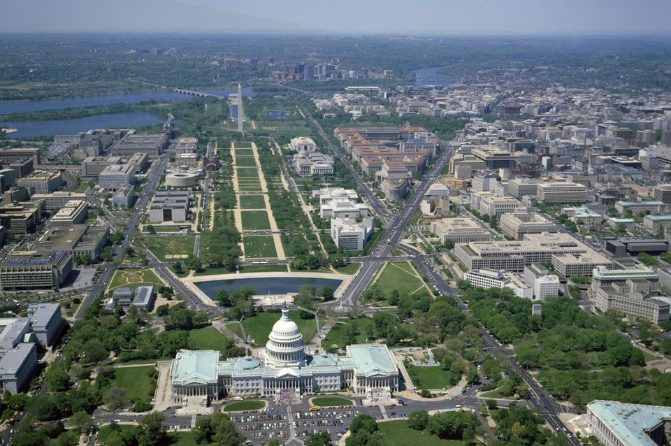 Aerial view from above the U.S. Capitol, looking west along the National Mall, Washington, D.C.
