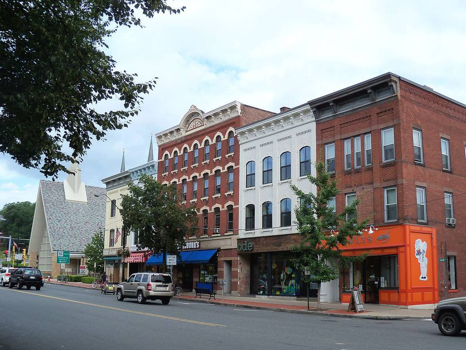 Buildings in downtown Northampton, Massachusetts, USA.