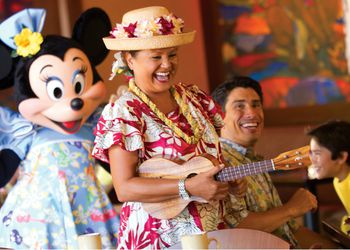 Aunty and Minnie Mouse entertain guests during Aunty's Breakfast Celebration at the Makahiki