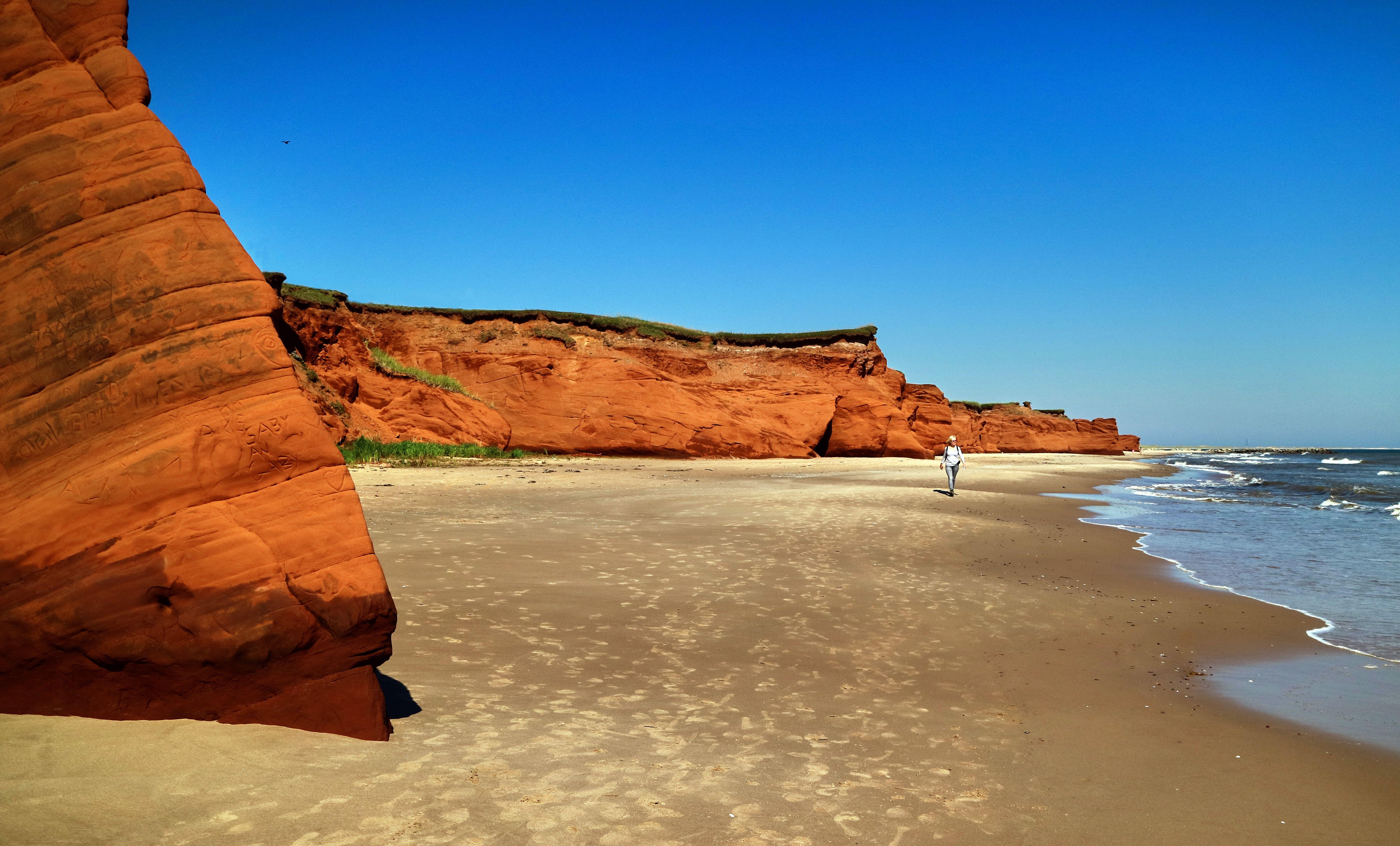 Red sandstone cliffs in the Magdalen Islands