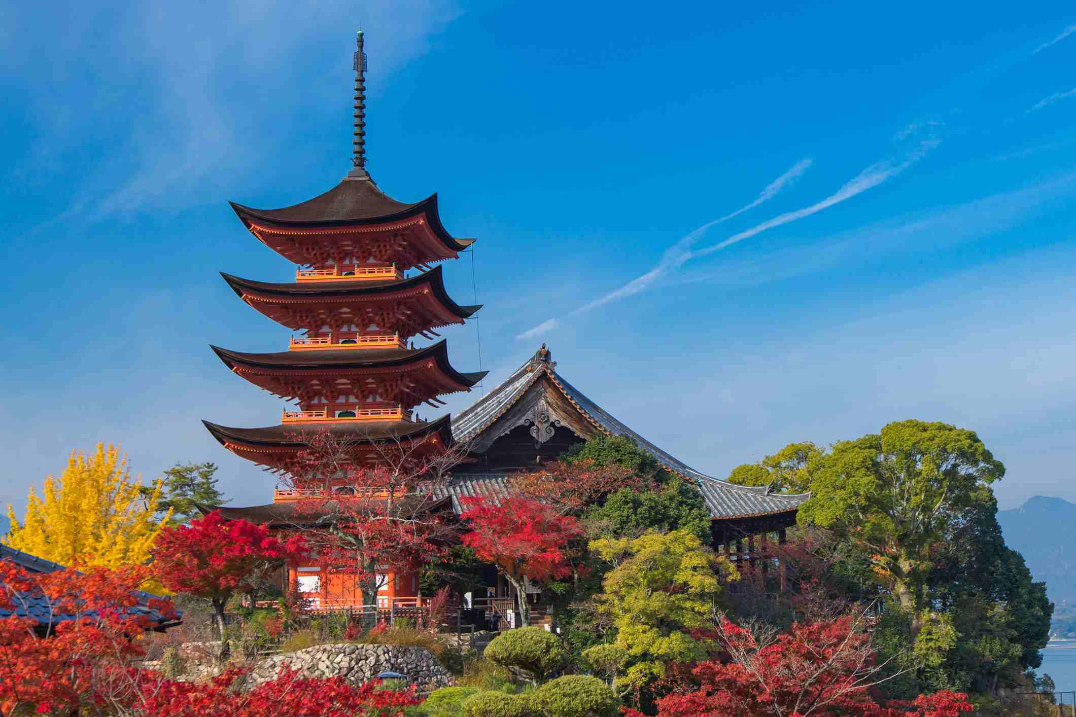 Five-story pagoda in the autumn, a UNESCO World Heritage Site Itsukushima Shrine, Miyajima, Japan