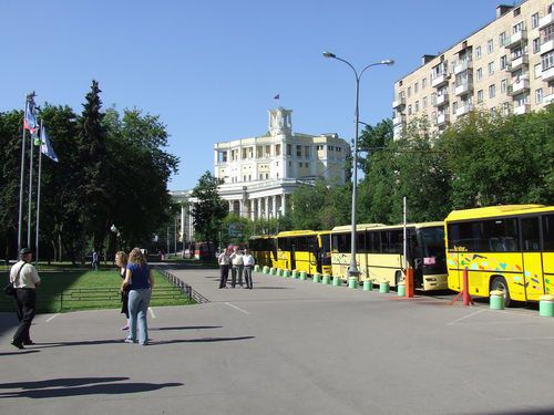 Tour Buses Wait for Passengers Outside the Central Museum of Armed Forces