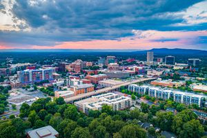 Aerial view of downtown Greenville at Sunset