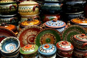 Locally produced pottery for sale at Ladies Market in Bulgaria