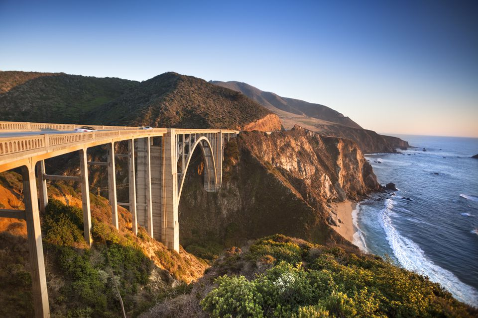 Bixby Bridge on highway One, near the Rocky Big Sur coastline, of the Pacific Ocean California, USA.