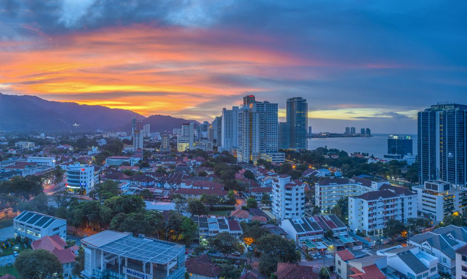 Malaysia, Penang, Georgetown, Cityscape at dusk