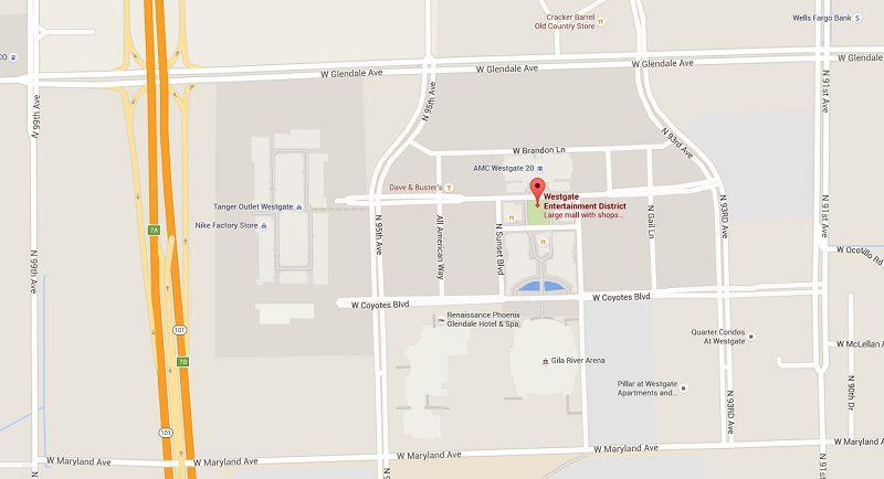 Map Showing Westgate Entertainment District In Glendale Az