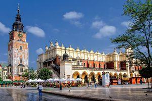 Main market square cloth hall in Krakow Poland