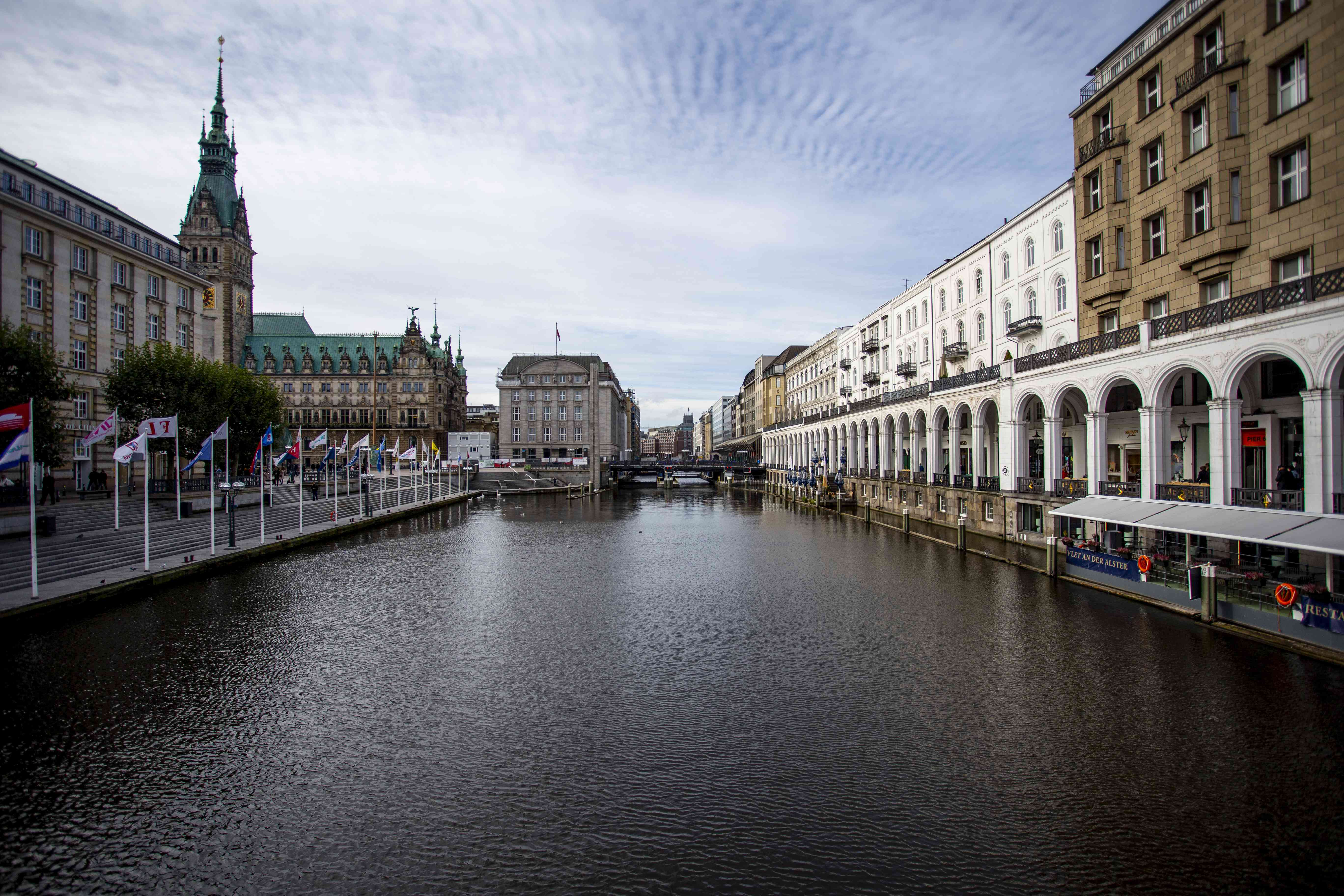 View of Alster Arcades and the surrounding buildings along the river