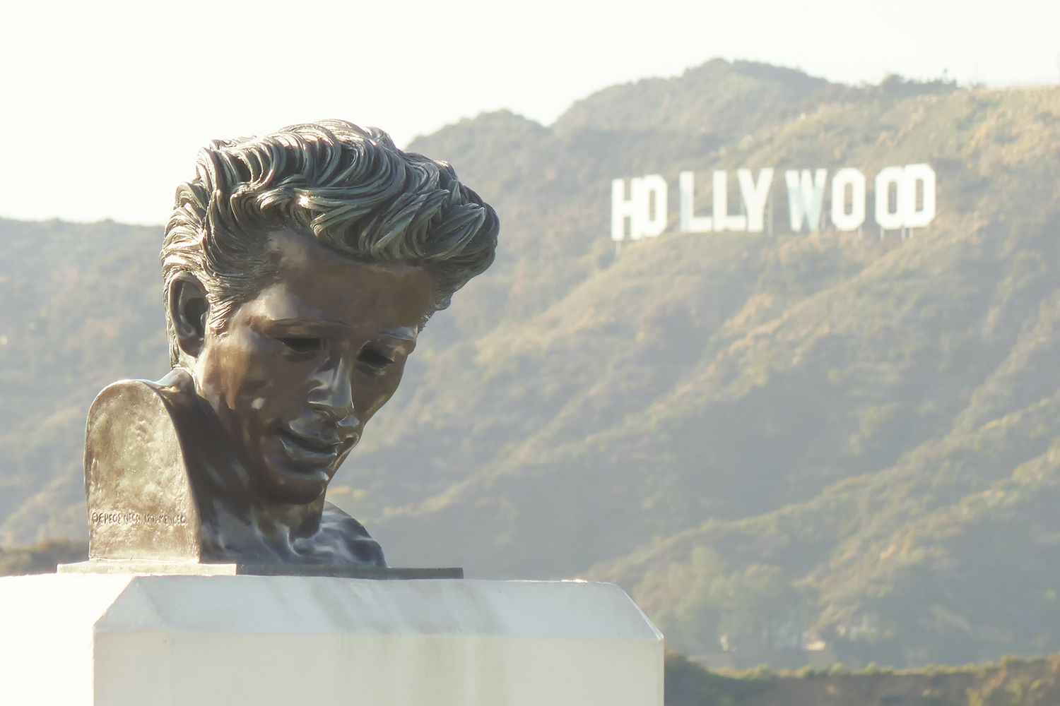 James Dean Bust and Hollywood Sign from Griffith Observatory