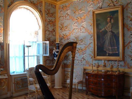 Peterhof - Drawing Room with Ornate Wallcovering in the Grand Palace at Peterhof near St. Petersburg