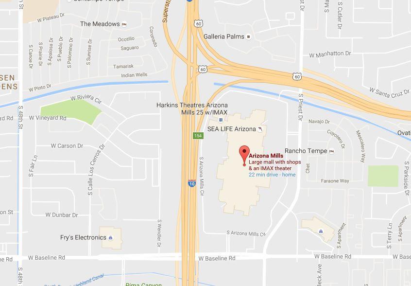 Mapa de Arizona Mills, Sea Life Arizona, Legoland Discovery Center