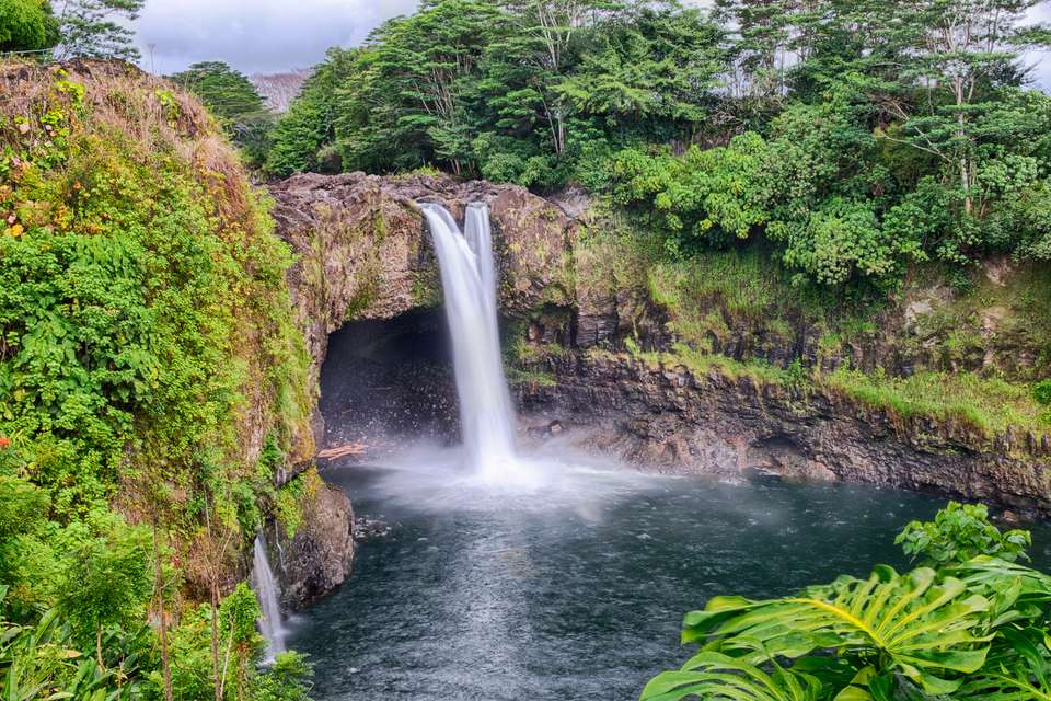 Scenic View of Waterfall In Hilo, Hawaii