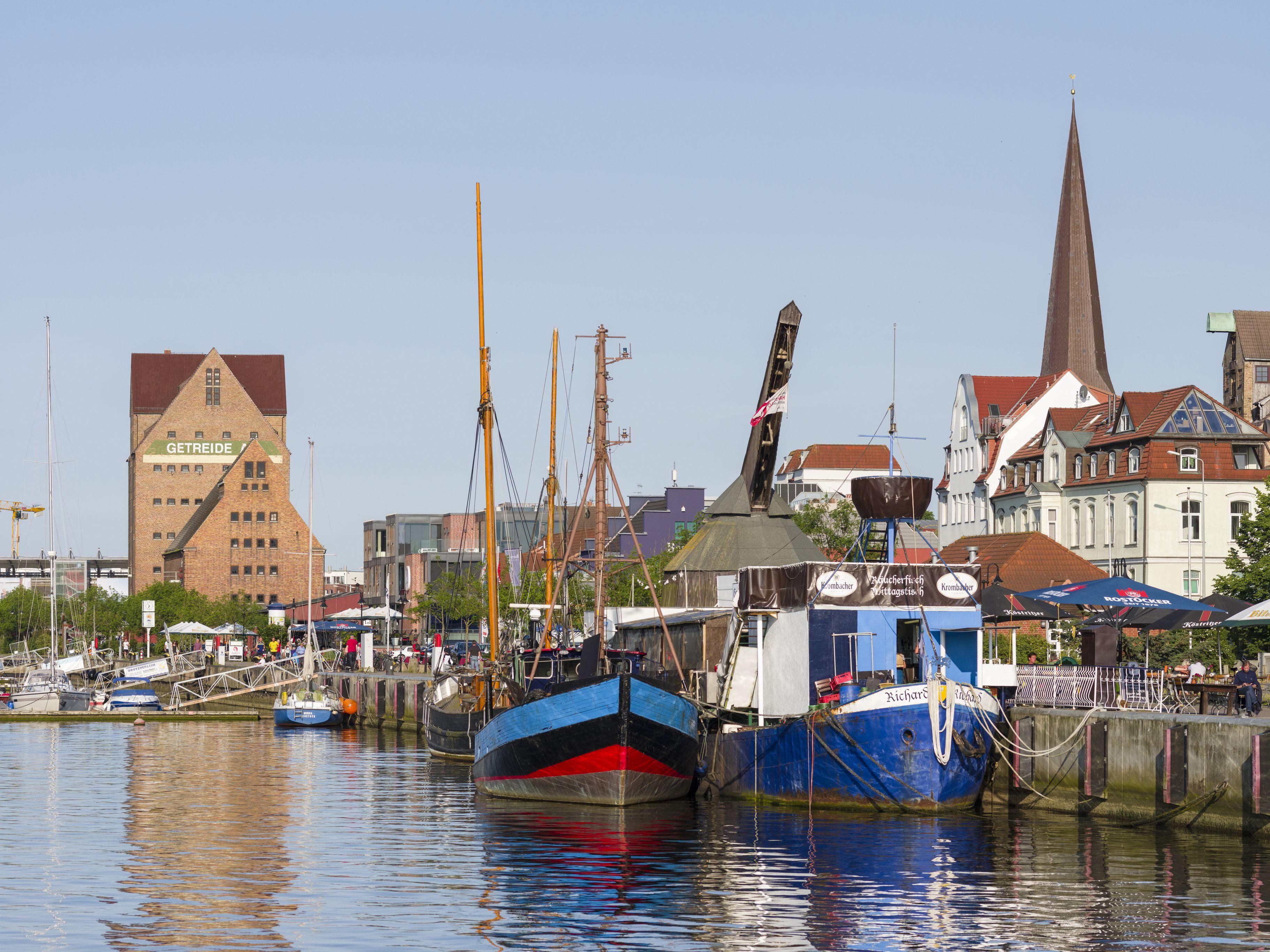 Harbor at Unterwarnow, Rostock, Mecklenburg-Western Pomerania, Germany