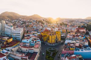 Aerial view of the old town of Guanajuato, Mexico