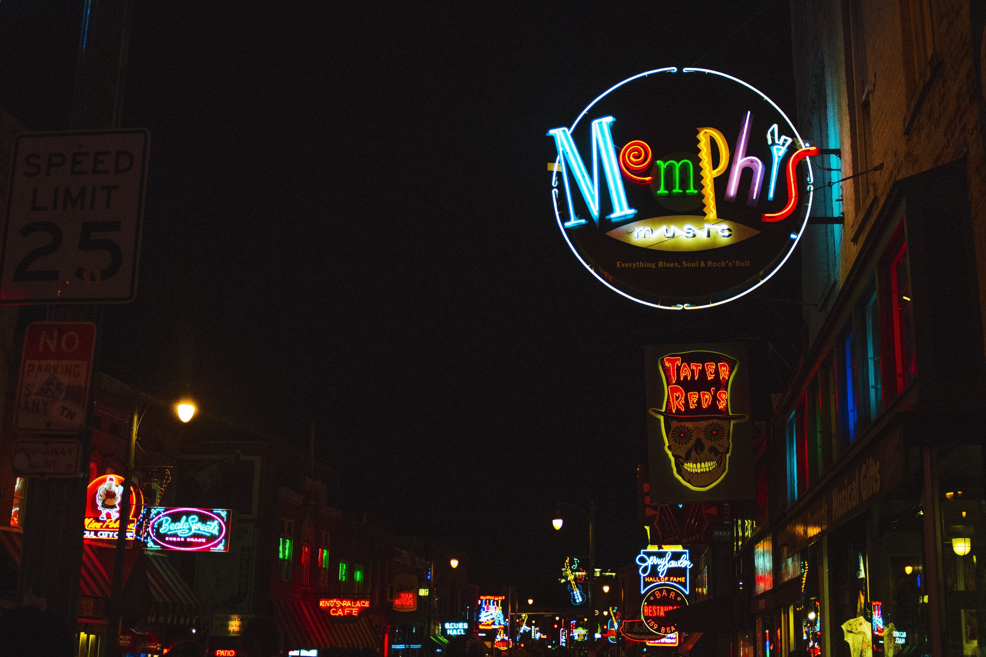 Lit up signs on Beale Street in Memphis