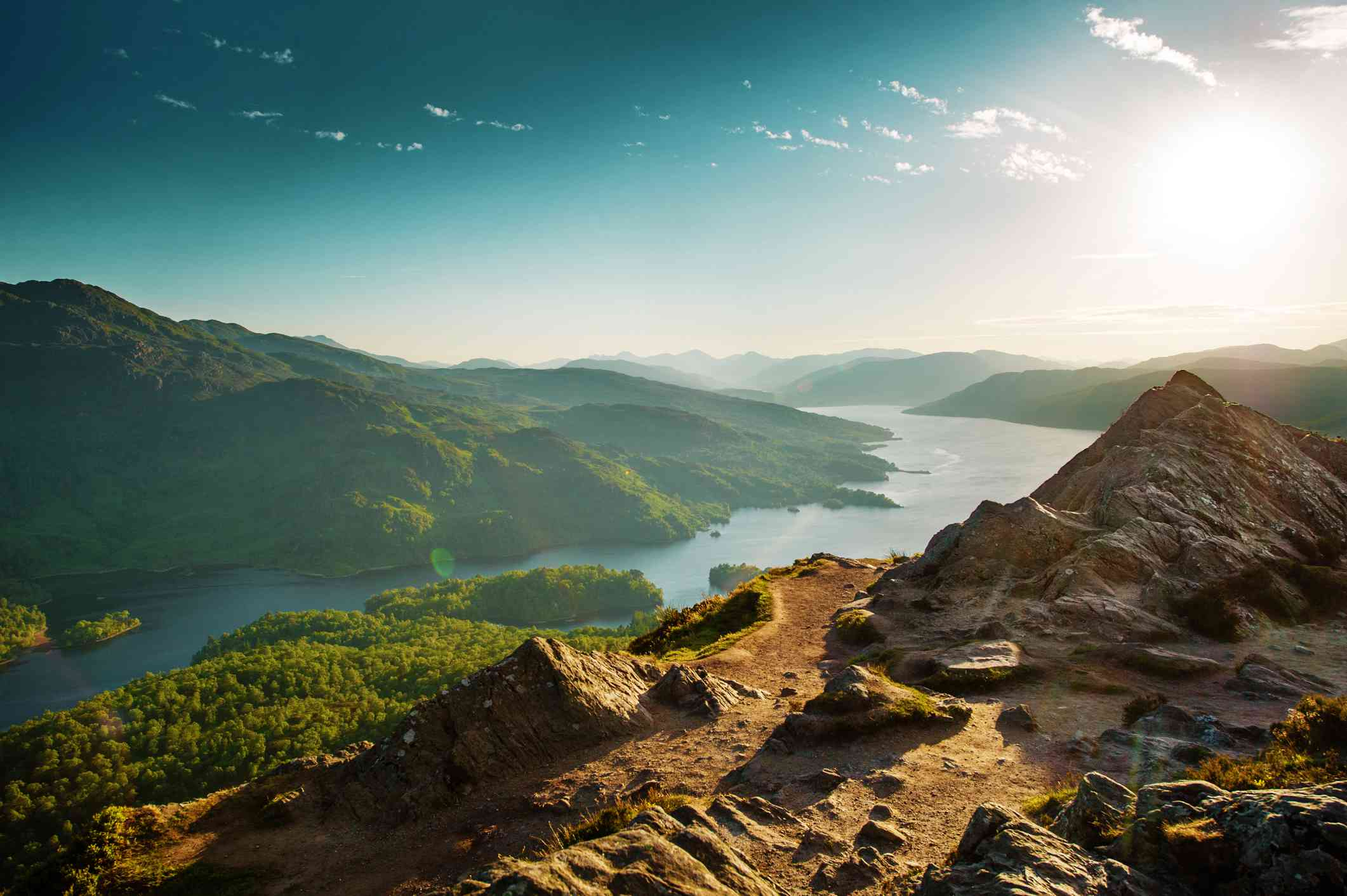 The Trossachs overlooking Loch Katerine with soft hazy light