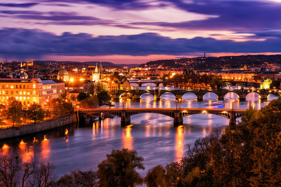 Aerial night view of Prague old town architecture and bridges