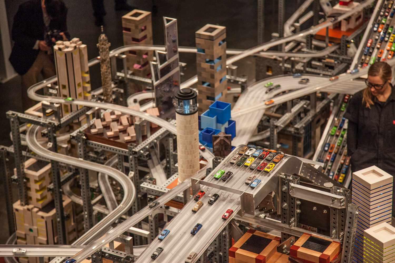 Chris Burden's kinetic sculpture, Metropolis II, in BCAM at LACMA