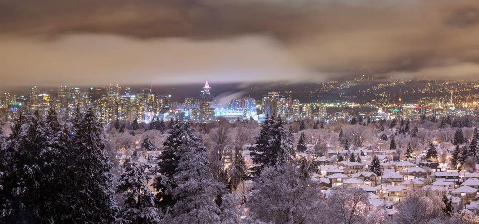 Night view of snowy Vancouver Canada in New Year's Eve Night view of snowy Vancouver Canada in New Year's Eve, from Queen Elizabeth Park.