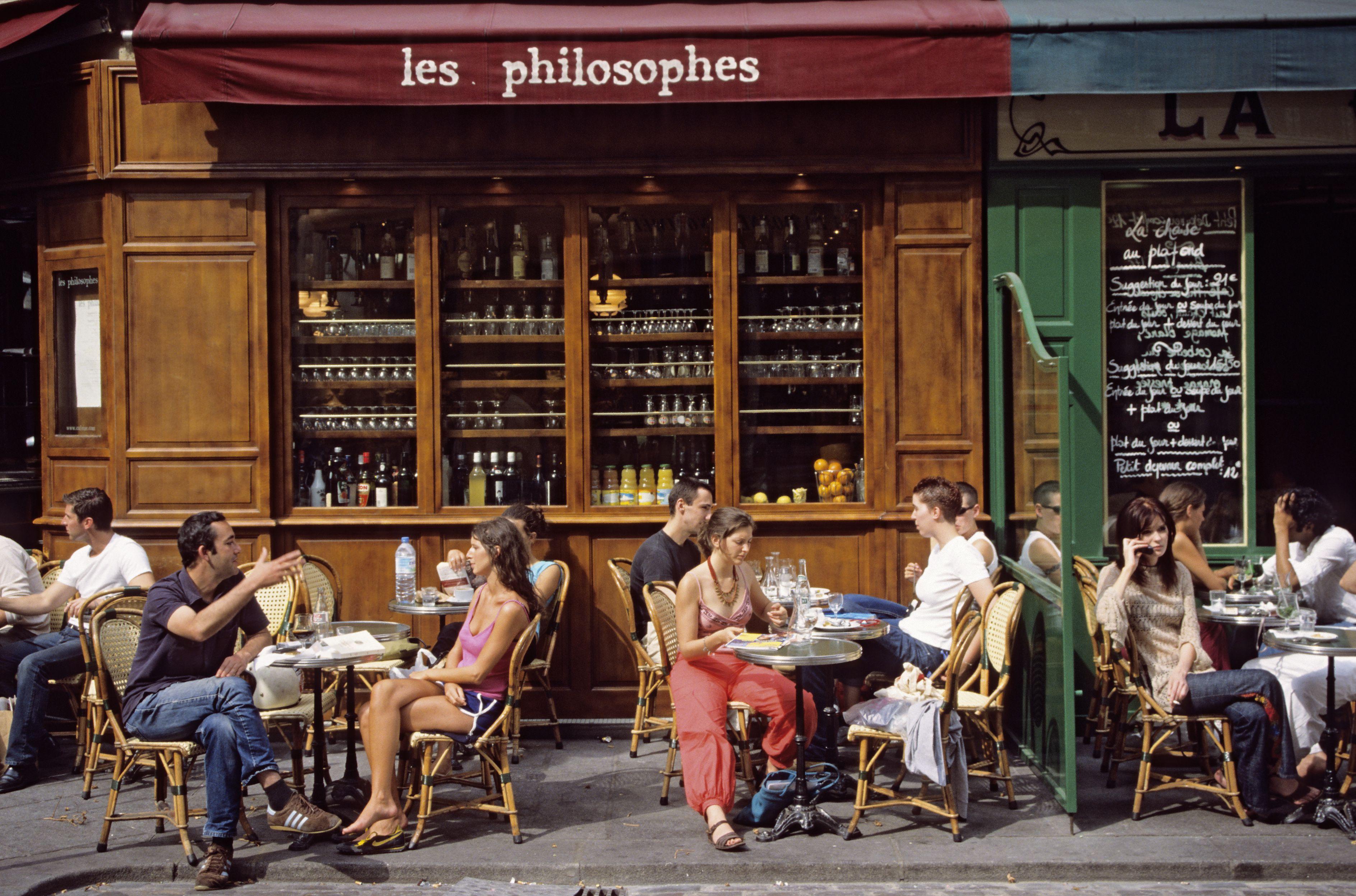 Paris, France cafe sidewalk dining
