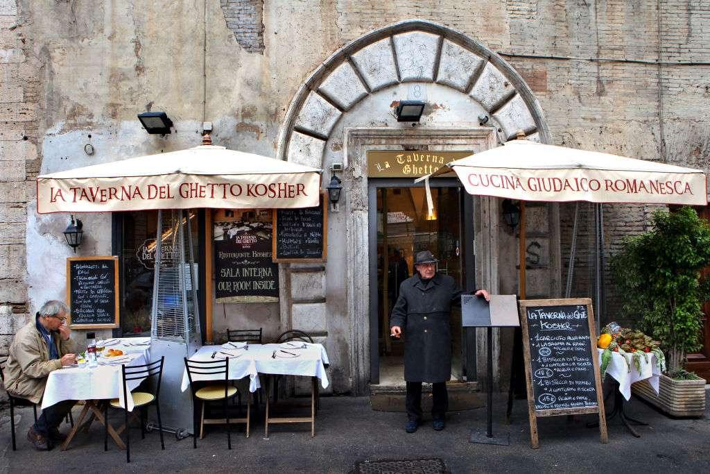 La Taverna Del Ghetto kosher restaurant in the Jewish Ghetto in Rome, Italy
