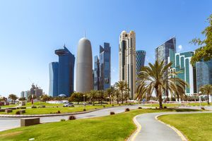 Doha modern city skyline in the background with grass and palm trees in the foreground at daytime