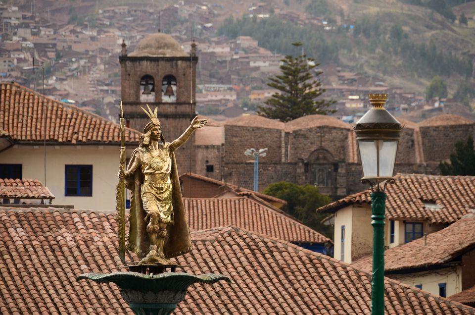 The Inca statue of Plaza de Armas in Cusco