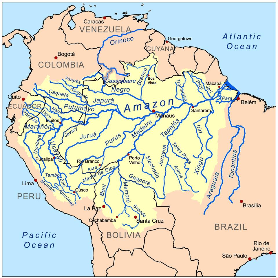 Map of Rivers in Peru