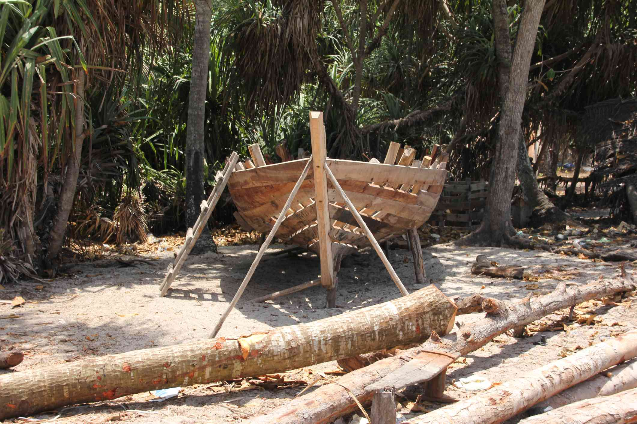 Dhow being built on the beach at Nungwi, Zanzibar