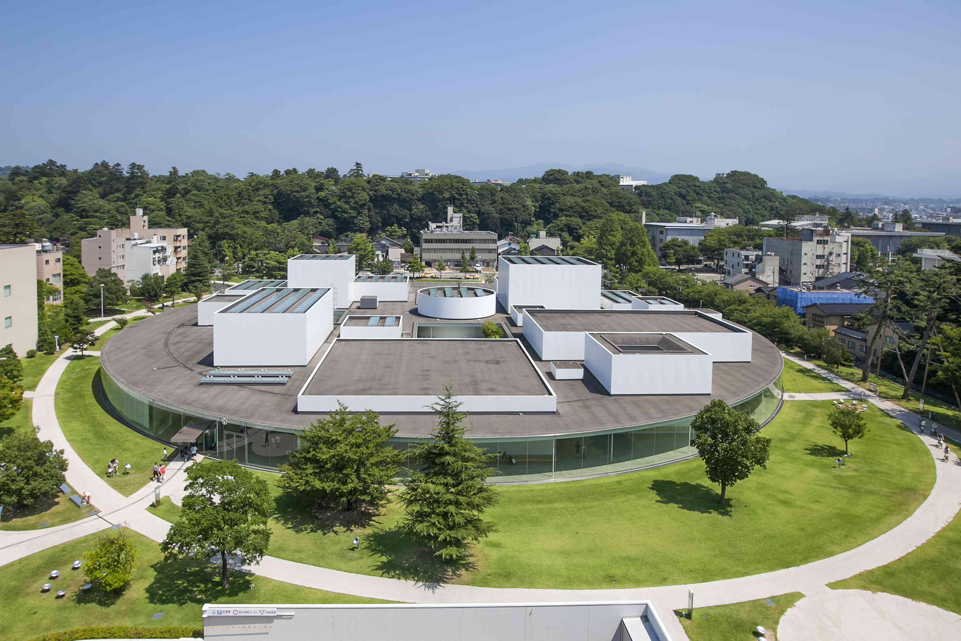 Aerial shot of 21st Century Museum of Contemporary Art in Kanazawa