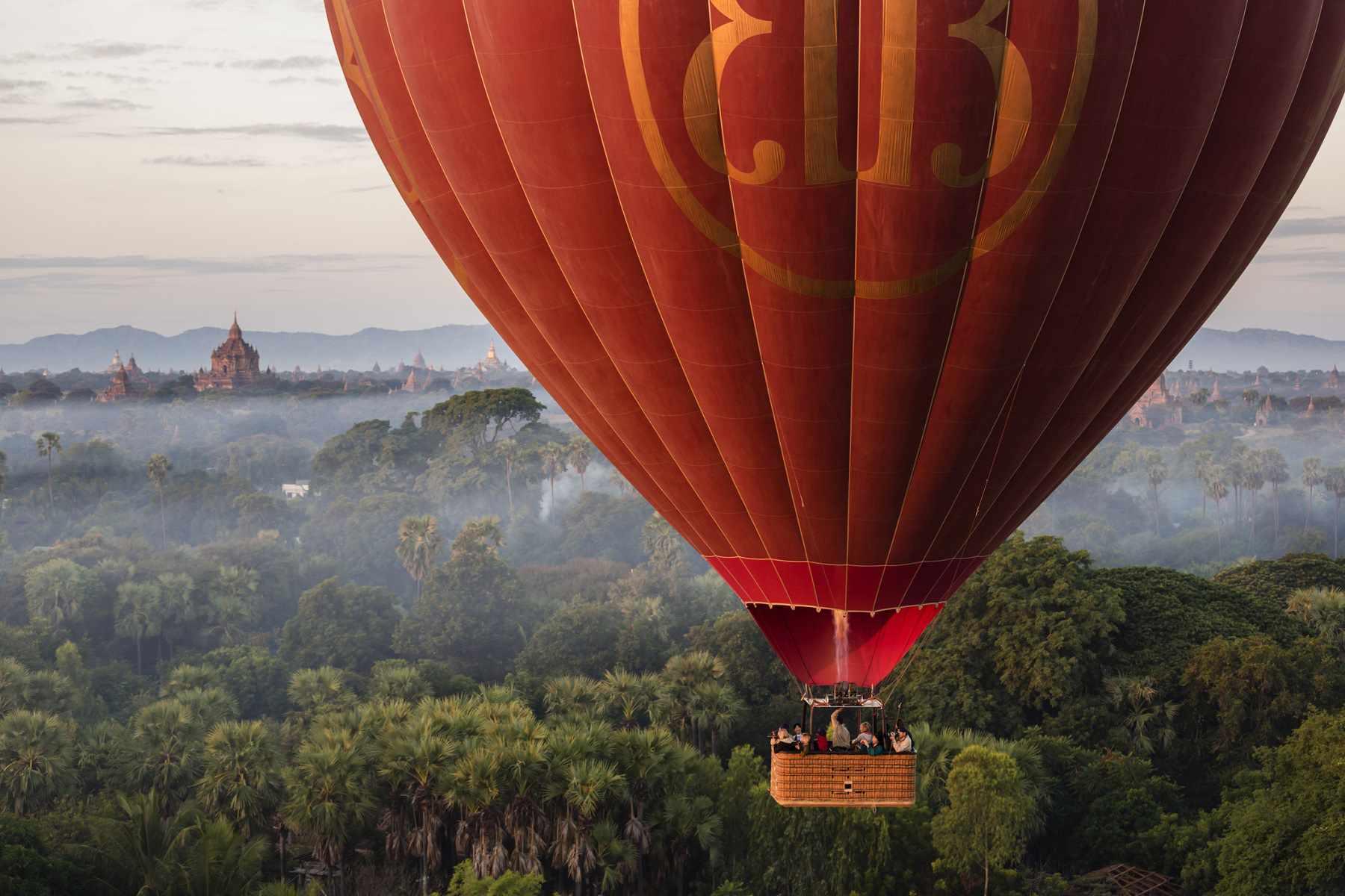 Balloon floating over Bagan, Myanmar