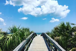Steps Amidst Sea Against Sky at Tybee Island